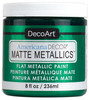 Emerald Green - Americana Decor Matte Metallics 8oz Americana Decor Matte Metallic paint will add a classic, matte metallic sheen to furniture and home decor projects. Cures to a hard, smooth finish in 1 to 2 weeks. Perfect for subtle accenting or full coverage application. This package contains 8oz of matte metallic finish. Conforms to ASTM D4236. Comes in a variety of colors. Each sold separately. Made in USA.