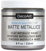 Silver - Americana Decor Matte Metallics 8oz Americana Decor Matte Metallic paint will add a classic, matte metallic sheen to furniture and home decor projects. Cures to a hard, smooth finish in 1 to 2 weeks. Perfect for subtle accenting or full coverage application. This package contains 8oz of matte metallic finish. Conforms to ASTM D4236. Comes in a variety of colors. Each sold separately. Made in USA.