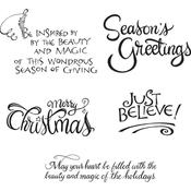 Christmas Sentiments Spellbinders Cling Stamps