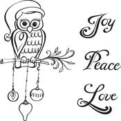 Christmas Owl Spellbinders Cling Stamps