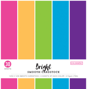 "Bright, 5 Colors/6 Each - Colorbok 78lb Smooth Cardstock 12""X12"" 30/Pkg"