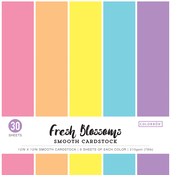"Fresh Blossoms, 5 Colors/6 Each - Colorbok 78lb Smooth Cardstock 12""X12"" 30/Pkg"