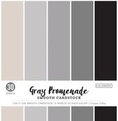 "Gray Promenade, 5 Colors/6 Each - Colorbok 78lb Smooth Cardstock 12""X12"" 30/Pkg"