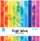 "Watercolor Bright Splash - Colorbok 78lb Single-Sided Printed Cardstock 12""X12"" 30/Pkg"