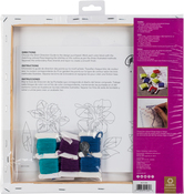 """Hibiscus Stamped On Stretched Canvas - Anchor Big Stitch Art Embroidery Kit 12""""X12"""""""