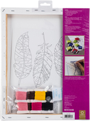 "Feather Stamped On Stretched Canvas - Anchor Big Stitch Art Embroidery Kit 11""X14"""