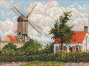 "Windmill at Knokke (10 Count) - RIOLIS Counted Cross Stitch Kit 13""X9.75"""