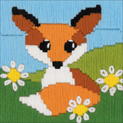 "Fox In Daisies (Stitched In Yarn) - RIOLIS Stamped Cross Stitch Kit 4""X4"""