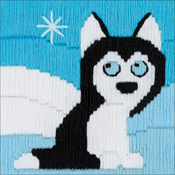 "Husky In Snowdrifts (Stitched In Yarn) - RIOLIS Stamped Cross Stitch Kit 4""X4"""
