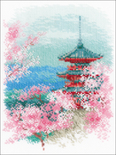 "Sakura Pagoda (14 Count) - RIOLIS Counted Cross Stitch Kit 7""X9.5"""