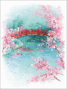 "Sakura Bridge (14 Count) - RIOLIS Counted Cross Stitch Kit 7""X9.5"""