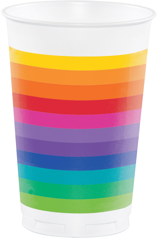 Rainbow Plastic Tumblers 16oz 8/Pkg