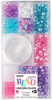 Unicorn - Party Bead Box Kit Beautiful beads in a multitude of colors. Whether you plan on using them for hair, jewelry, adornments on clothing, lamp shades or curtains they will surely brighten up your world. This 4.5x8.5x1 inch package contains approximately 875 plastic beads, 3 bangles, & 4yds of stretch cord. There are a multitude of colors and shapes. Theme: Unicorn Colors. WARNING: Choking Hazard. Not suitable for children under 3 years. Made in USA.