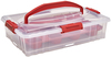 Red - Buddeez Cake & Cupcake Carrier Durable and attractive. Each carrier can hold a 9x13 inch cake or 12 cupcakes safely for transport. Multiple carriers securely stack and snap together to carry even more! The cut and serve utensil tucks up neatly and safely inside the lid so you are never without! This spacious carrier can even be used to organize and stack crafts, beads, jewelry. This package contains one 18x12 container with removable cupcake tray and 9.5x3 inch serrated server. BPA free. Made in USA.