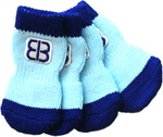 Small Blue/Light Blue - Petego Traction Control Indoor Socks For Dogs 4/Pkg