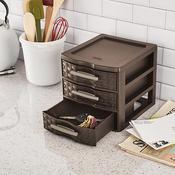 """8.625""""X7.25""""X6.875"""" Espresso - Sterilite Small Weave 3 Drawer Storage Unit"""