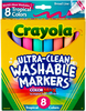 Tropical Colors 8/Pkg - Crayola Ultra-Clean Color Max Conical Tip Washable Markers Crayola markers unleash the power of kids' imagination! These washable markers are specially formulated to easily wash from skin and most children's clothing. This 5x5.5x.625 inch package contains eight washable markers in assorted colors. Non-toxic. Conforms to ASTM D 4236. WARNING: Choking Hazard- small parts. Not for children under 3 years. Recommended for ages 3 and up. Made in USA.