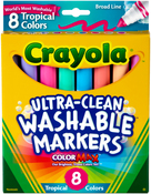 Tropical Colors 8/Pkg - Crayola Ultra-Clean Color Max Conical Tip Washable Markers