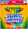 Bright Colors 10/Pkg - Crayola Ultra-Clean Color Max Broad Line Washable Markers Crayola markers unleash the power of kids' imagination! These washable markers are specially formulated to easily wash from skin and most children's clothing. This 6.25x5.5x.625 inch package contains ten washable markers in assorted colors. Non-toxic. Conforms to ASTM D 4236. WARNING: Choking Hazard- small parts. Not for children under 3 years. Recommended for ages 3 and up. Made in USA.