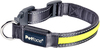 Small - Petface Flashing Reflective Collar 10 inches  To 14 inches The Petface reflective collar lights up and shines all the way around a dog's neck. Perfect for dusk and night-time visibility. The on/off switch and battery (included) fit in a slot built into the collar. It is made with strong but soft nylon webbing for ultimate comfort on a dog's neck. The buckle is the strongest available to ensure your dog's safety as well as your peace of mind. Easily clean with warm wet washcloth and air dry. A sturdy metal D ring allows you to attach an identification tag or a leash. Package includes one collar, Small, for a dog's neck approximately 10 to 14 inches (20.5 to 35cm) in diameter and a replaceable battery. Color: Gray and yellow. Keep out of the reach of children. Imported.