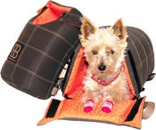 "Large-Mocha With Orange Interior - Petego Lenis Pack Pet Carrier Bag 10""X7.5""X14"""