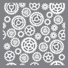 Gears & Cogs - Americana Mixed Media Stencil 12 X12  Create timeless furniture and home decor pieces with these flexible stencils made for durability and ease of use with either paints or texture products. This package contains one 12x12 inch stencil. Comes in a variety of designs. Each sold separately. Imported.
