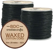 Black - Waxed Cotton Bracelet Cord 1mmX24m
