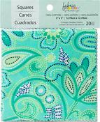 "Carnivale Blue 10 Designs/2 Each - Fabric Palette Charm Pack 5""X5"" 20/Pkg"