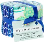 """Carnivale Blue 10 Designs/2 Each - Fabric Palette Jellies 2.5""""X42"""" 20/Pkg"""