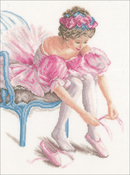 """My First Dance on White Linen (30 Count) - LanArte Counted Cross Stitch Kit 10.8""""X14.4"""""""