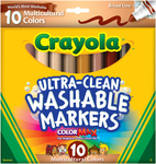 Multicultural 10/Pkg - Crayola Ultra-Clean Color Max Broad Line Washable Markers