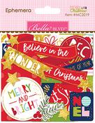 Ephemera, Shapes, Tabs & Words W/Foil - Merry Christmas Cardstock Die-Cuts