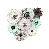 Grey & Mint Flirty Fleur Flowers - Prima