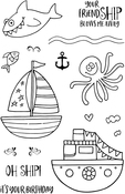 "Oh Ship! - Jane's Doodles Clear Stamps 4""X6"""