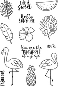 """Tropical Fun - Jane's Doodles Clear Stamps 4""""X6"""""""