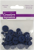 "Navy 15 Each .25"", .375"" & .675"" - Creative Impressions Resin Button Assortment 45/Pkg"