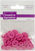 "Dark Pink 15 Each .25"", .375"" & .675"" - Creative Impressions Resin Button Assortment 45/Pkg"