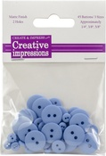 "Country Blue 15 Each .25"", .375"" & .675"" - Creative Impressions Resin Button Assortment 45/Pkg"