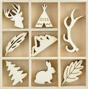 Woodlands - Themed Mini Wooden Flourishes 40/Pkg