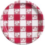 Red - Gingham Dinner Plates 8/Pkg
