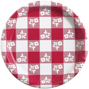Red - Gingham Luncheon Plate 8/Pkg
