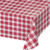 "Red - Gingham Plastic Tablecover 54""X108"""