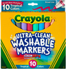 Tropical Colors 10/Pkg - Crayola Ultra-Clean Color Max Broad Line Washable Markers These markers are washable from skin, clothing and now from painted walls! Washability you can trust from the world's most washable marker! This 6.25x5.5x.625 inch package contains 10 markers in assorted colors. Non-toxic. Conforms to ASTM D 4236. WARNING: Choking Hazard- small parts. Not for children under 3 years. Made in USA.