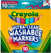 Tropical Colors 10/Pkg - Crayola Ultra-Clean Color Max Broad Line Washable Markers