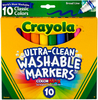 Classic Colors 10/Pkg - Crayola Ultra-Clean Color Max Broad Line Washable Markers These washable markers are specially formulated to easily wash from skin and most children's clothing. This 6.25x5.5x.625 inch package contains ten washable markers in assorted colors. Non-toxic. Conforms to ASTM D 4236. WARNING: Choking Hazard- small parts. Not for children under 3 years. Made in USA.