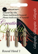 Round Hand - 1, 2 & 3 - Manuscript Calligraphy Pen Nibs - Carded 3/Pkg