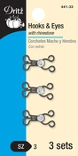 Gunmetal - Dritz Hooks & Eyes W/Clear Rhinestones Size 3 3/Pkg