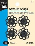 Black - Dritz Sew-On Snaps - Flower Shape 25mm 2/Pkg
