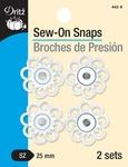 White - Dritz Sew-On Snaps - Flower Shape 25mm 2/Pkg