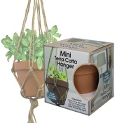 Mini Terra Cotta Pot & Jute Plant Hanger Set